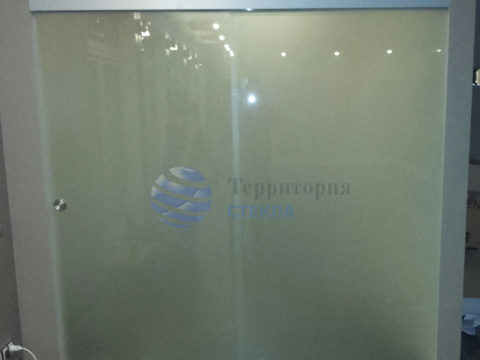 Перегородка с откатной дверью, стекло 8мм мателюкс, скрытая раздвижная система