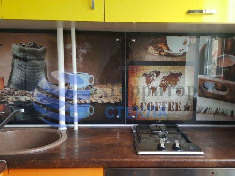 Скинали с фотопечатью «Кофе» — стекло 6 мм, прозрачное. Держатели — конусные, цвет хром