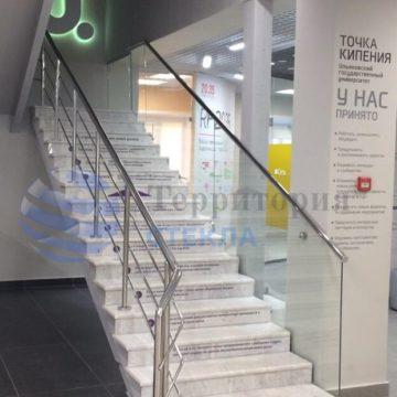 Стеклянное ограждение лестничного проема, стекло 10мм прозрачное