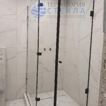 Душевая угловая с распашной дверью с черной фурнитурой из прозрачного стекла